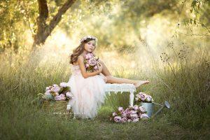 Sesión de fotos en el campo de princesa