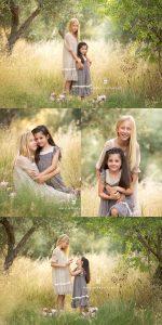 sesión de fotos de hermanas en el campo