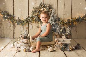 sesión de fotos de navidad de bebés